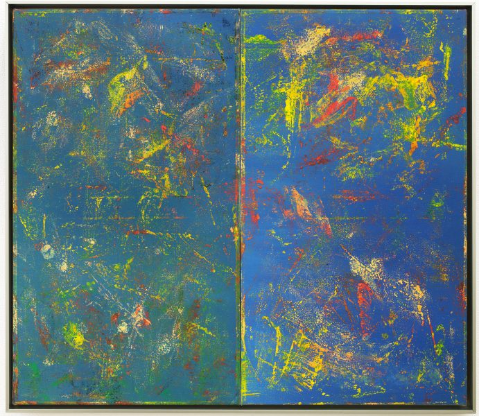 Reginald Sylvester II, 008 (Transfer Painting), 2020, oil and paper on canvas, 27.5 × 31.5 × 2 inches (69.85 × 80.01 × 5.08 cm)© Reginald Sylvester II, image courtesy of Maximillian William and James Fuentes