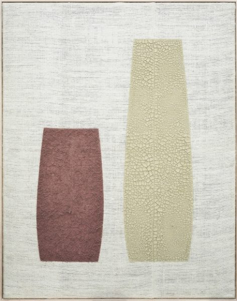 Magda Skupinska, Susza, 2018, red and natural clay on canvas, 75.5 x 56.2in. (192 x 145cm.)© Magda Skupinska, image courtesy of Maximillian William