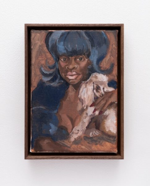 Somaya Critchlow, Kim's Blue Hair With Dog, 2019, oil on canvas, Framed: 9 x 6.6in. (23 x 16.9cm.)© Somaya Critchlow, image courtesy of Maximillian William