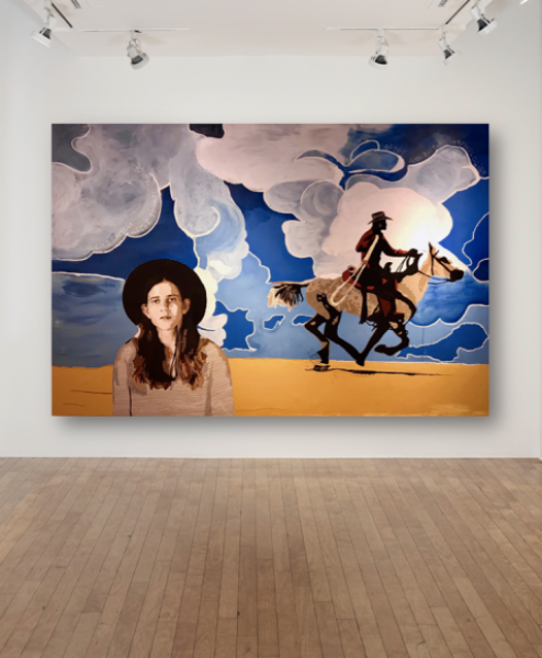 Coco Capitán, Coco Capitán after Richard Prince after Marlboro after American Mythologies, 2018, oil and acrylic on canvas, 78.7 x 118.1in. (200 x 300cm.)© Coco Capitán, image courtesy of Maximillian William