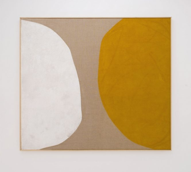 Magda Skupinska, Forgetmenot, 2015, milk and turmeric on canvas, 180 x 160 cm© Magda Skupinska, image courtesy of Maximillian William