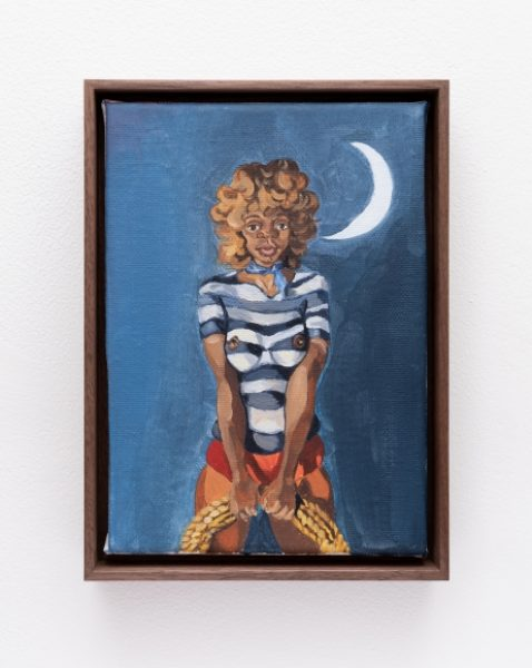 Somaya Critchlow, Untitled (Rope and Moon), 2018, oil on canvas, 8.2 x 5.8in. (21 x 14.8cm.)© Somaya Critchlow, image courtesy of Maximillian William