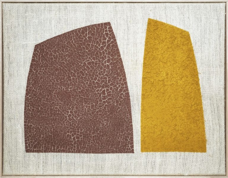 Magda Skupinska, Ravine, 2018, red clay and turmeric on canvas, 41.1 x 52.9in. (104.5 x134.5cm.)© Magda Skupinska, image courtesy of Maximillian William