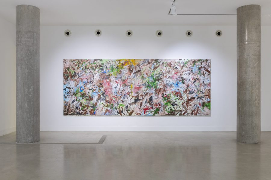 Reginald Sylvester II, A War Within the Soul vs the Flesh, 2019, acrylic on canvas, 75.9 x 205 in (193 x 521.2cm)© Reginald Sylvester II, image courtesy of Maximillian William, photography courtesy of Damian Griffiths