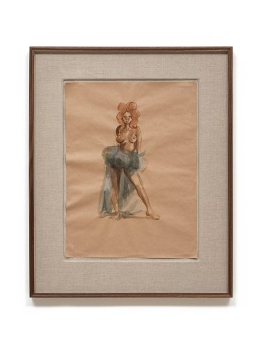 Somaya Critchlow, The Punishing Look, 2020, watercolour on brown paper, 26.14 x 21.10 in (66.4 x 53.6 cm)© Somaya Critchlow, image courtesy of Maximillian William, London
