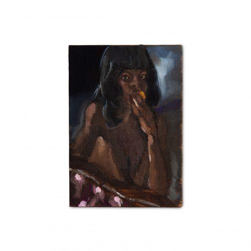 Somaya Critchlow, Angela (Holding a Blood Orange), 2019, oil on canvas, 3.94 x 2.76 in (10 x 7 cm)© Somaya Critchlow, image courtesy of Maximillian William, London