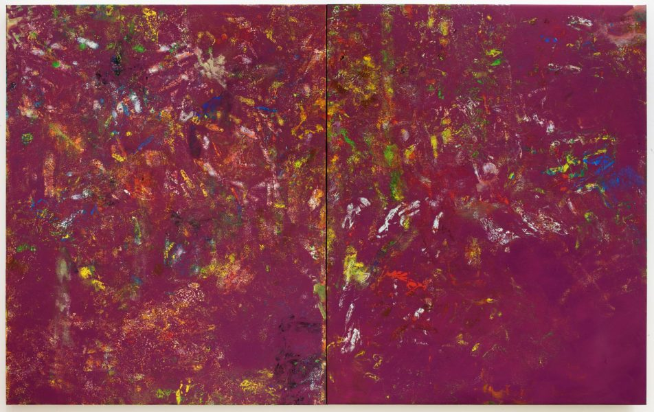 Reginald Sylvester II, TBT, 2020, oil and paper on canvas stretched on wood board, 60 × 96 × 2 inches (152.40 × 243.84 × 5.08 cm)© Reginald Sylvester II, image courtesy of Maximillian William and James Fuentes