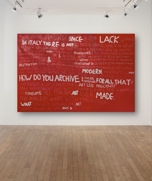 Coco Capitán, The Lack of Space in Italy, 2016, Mixed Media on canvas, 78.7 x 118.1in. (200 x 300cm.)© Coco Capitán, image courtesy of Maximillian William