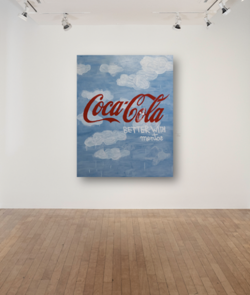 Coco Capitán, Coca Cola - Better with Mentos, 2018, acrylic on canvas, 59 x 47.2in. (150 x 120cm.)© Coco Capitán, image courtesy of Maximillian William